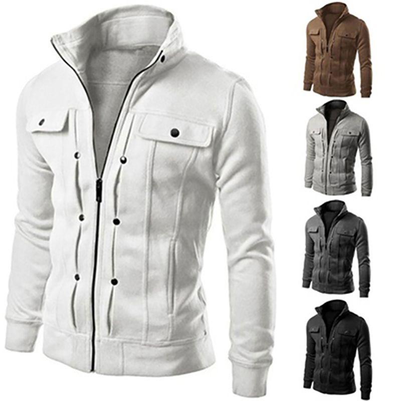 Chaqueta de los hombres de Color Sólido Slim Fit Collar Del Soporte de la Cremallera de Invierno Abrigo Corto Outwear