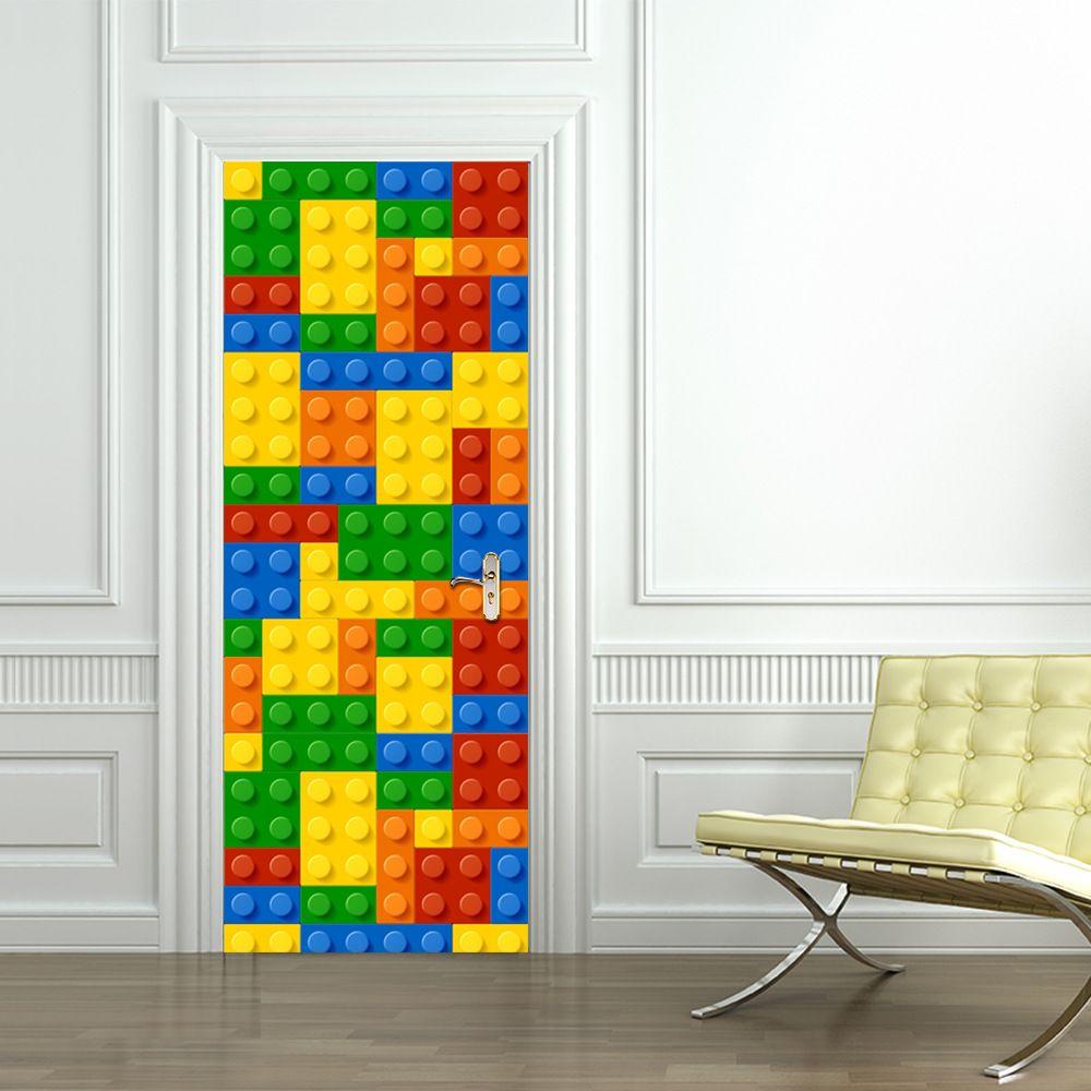 Enfants Lego module de construction porte autocollants chambre porte créative auto-adhésif décoration étanche porte autocollants
