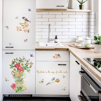 Retro Mural Flower Bird Cup Wall Stickers Kitchen Fridge Butterfly Sticker Bathroom Decals DIY Vintage Home Decoration SD201