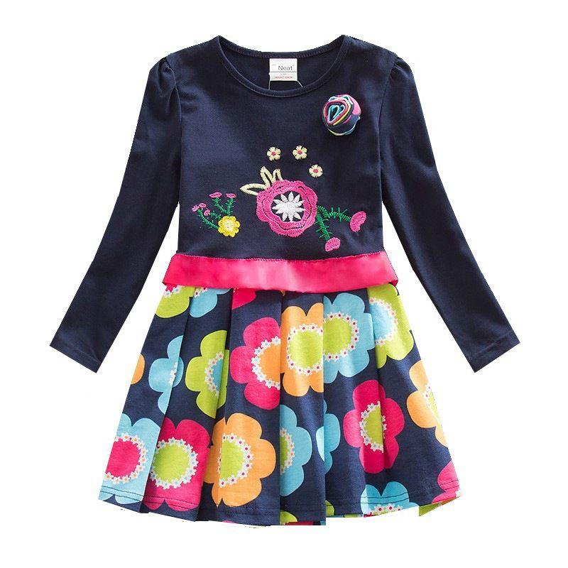 Fille robe marque col rond coton fleur imprimé noeud papillon fille vêtements mignon simple style manches longues robe femme LH5868