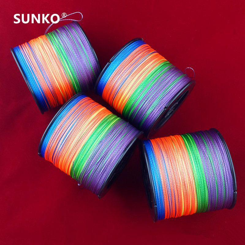 Assez 500 M SUNKO Marque 8 10 20 30 40 50 60 70LB Super Strong Japonais coloré Multifilament PE Matériel Tressé Ligne De Pêche
