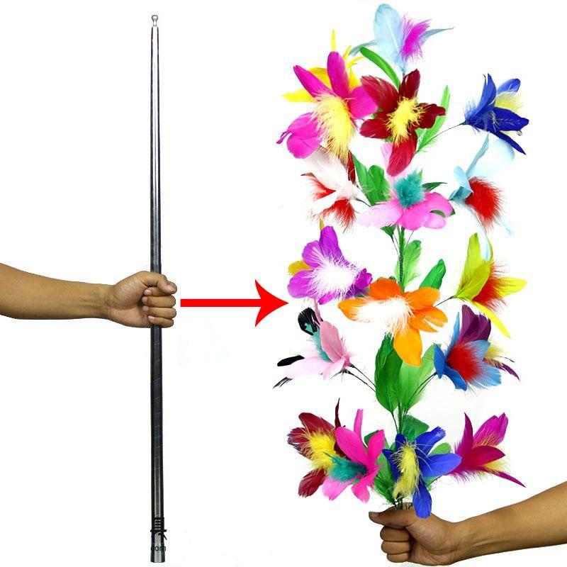 Disparaître disparaître canne à fleur canne en argent gros plan scène tours de magie pour magicien professionnel accessoires de magie Gadget drôle