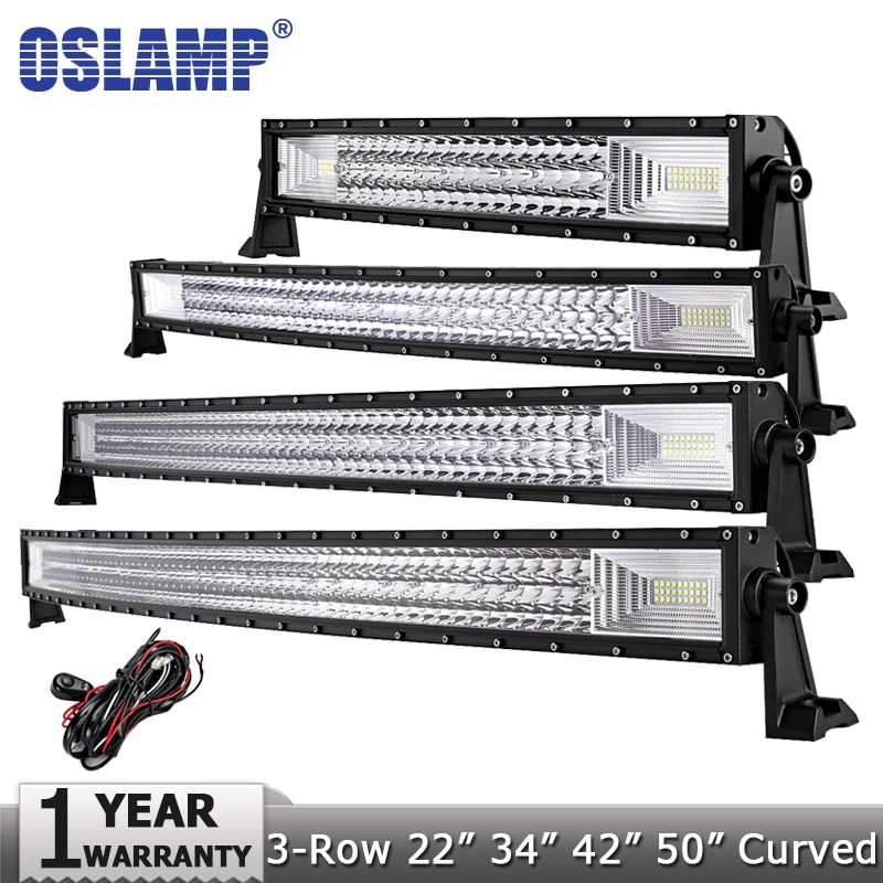 Oslamp 3-Row 5 12 16 20 22 23 34 42 52 Curved LED Light Bar Offroad Led Bar Spot Flood <font><b>Beam</b></font> Led Work Light Bar 12v 24v