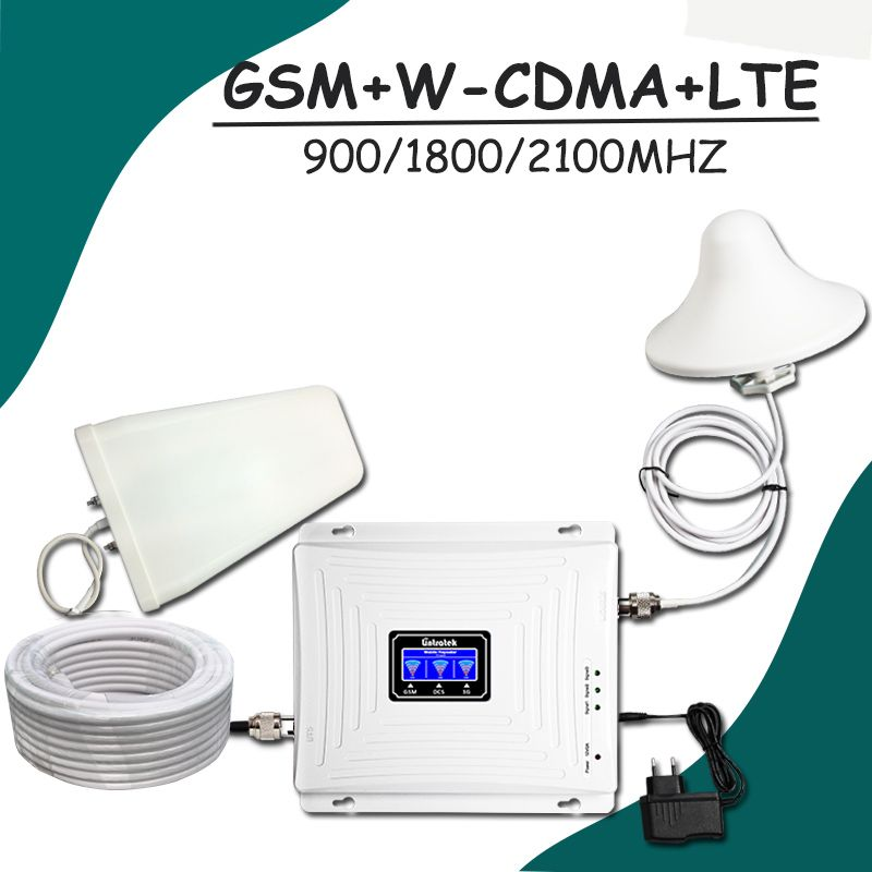 Lintratek LCD-Display GSM 900 W-CDMA 2100 LTE 1800 mhz Tri-band Signal Booster 2G 3G UMTS 4G Handy Repeater Verstärker Set #48