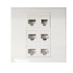 Wall Socket Plate 6 Ports LAN Network five ports Cat6 RJ45 + One port Cat3 RJ11 Panel Faceplate Outlet Home Adapter