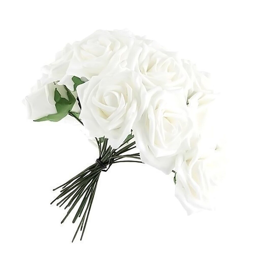 50 Pcs Artificial White Foam Rose Flower Bouquets Home Decoration with Stem for Wedding Party Diy Decorative Artificial Flowers