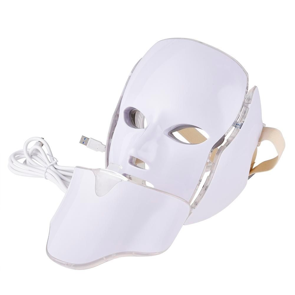 7 Colors LED Light Facial Mask With Neck Skin Rejuvenation Face Care Treatment Beauty Anti Acne Therapy Whitening Instrument