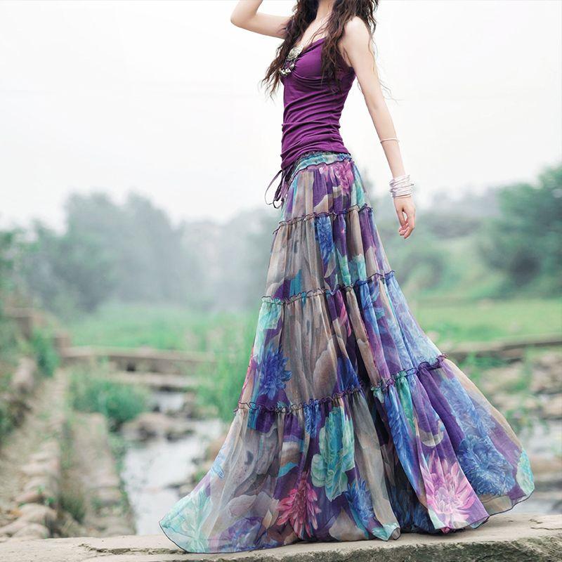 Лето 2017 г. Boho Юбки для женщин женские Высокая талия фиолетовый с цветочным принтом плиссированные шифон длинная юбка элегантный Винтаж Saia ...
