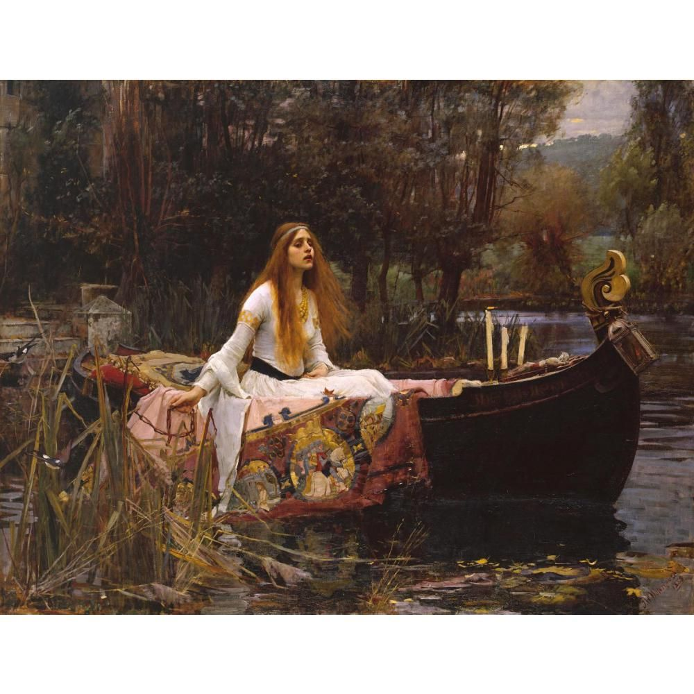 Beautiful Canvas art The Lady of Shalott famous paintings by John William Waterhouse woman oil painting hand painted Room decor