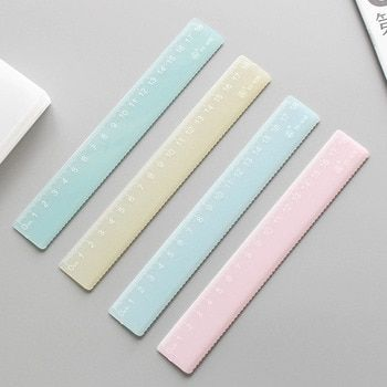 JIANWU 4pcs Candy color plastic ruler transparent ruler for kids  School Supplies Drawing supplies