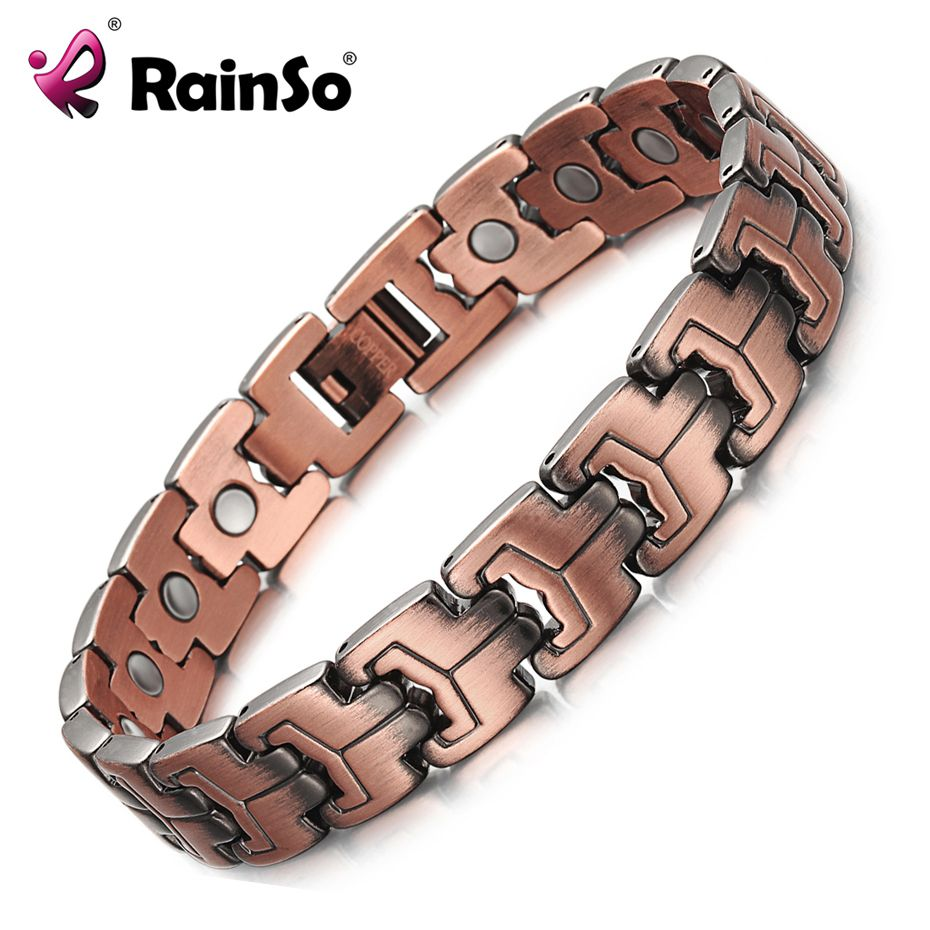 RainSo Men Magnetic Bracelets Red Copper Arthritis Therapy Health Care Bracelets Fashion Jewelry OCB-738 Christmas Gifts for men