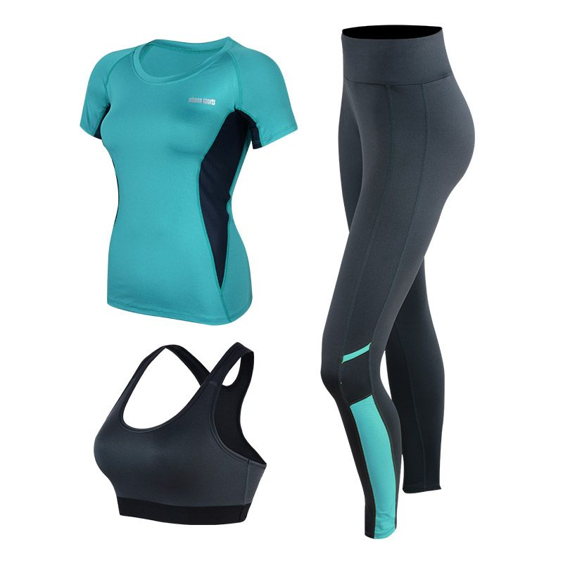 Sport Suit Women Fitness Jogging Pants Gym Clothing Running Tights Quick Dry Yoga Crop Top&Gym Shirts&Leggings 3 Pieces Yoga Set