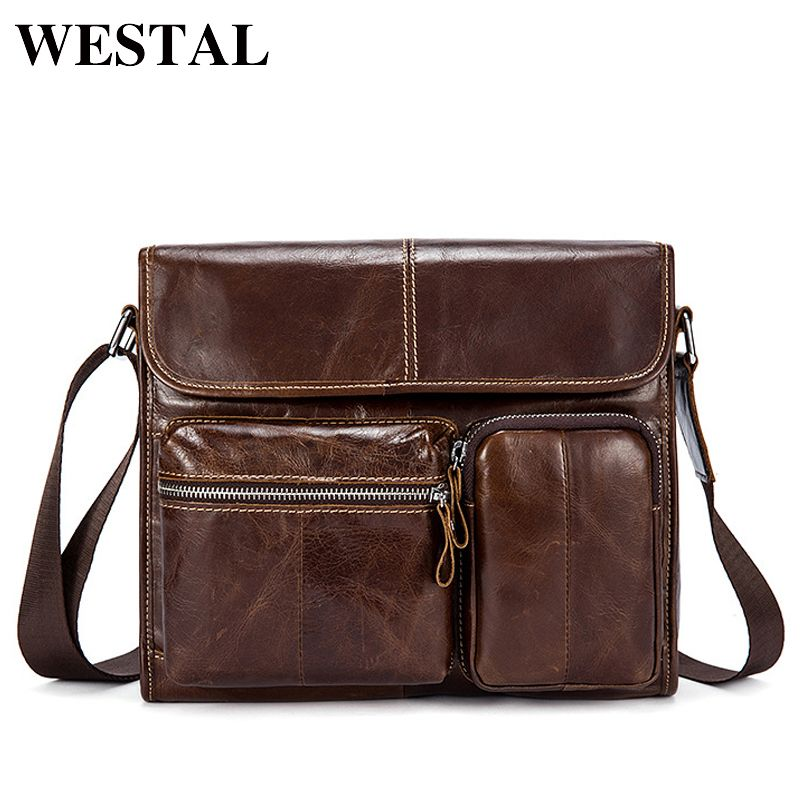 WESTAL Men's Bag Genuine Leather Shoulder Bags Oil Leather Messenger Bag Men Small Black Mens Crossbody Bags ipad Satchels 380