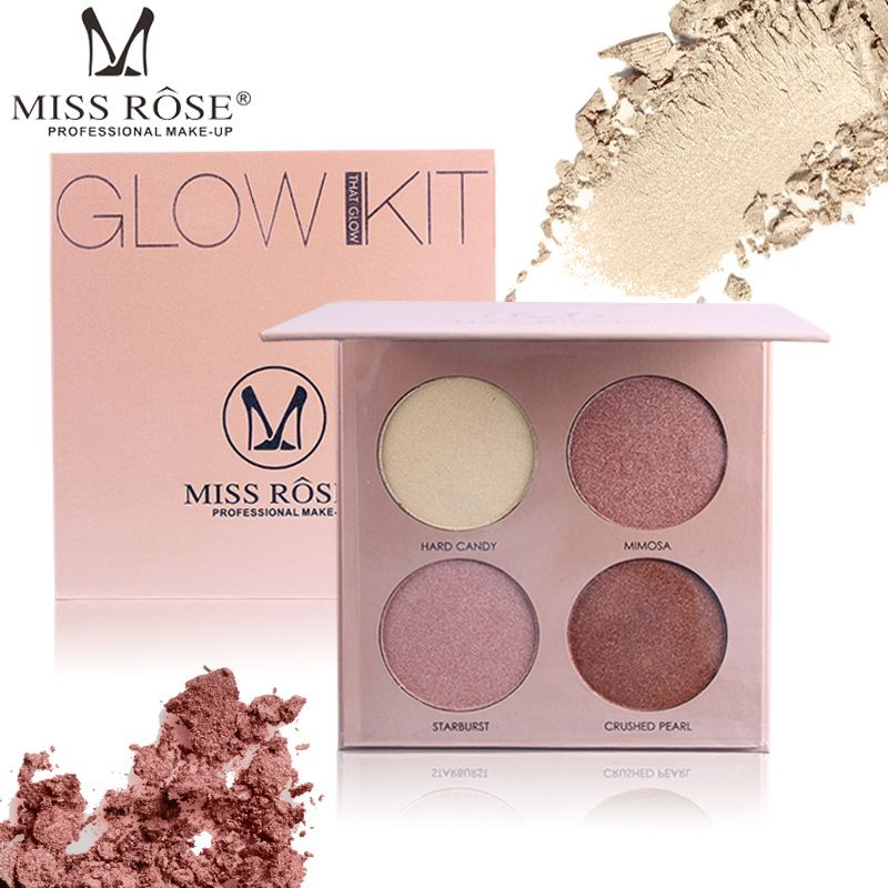 Miss Rose brand 4 Colors Brighten Base Makeup Glow Kit Palette Highlighter Makeup Illuminator Face Shadow Bronzers Highlighters