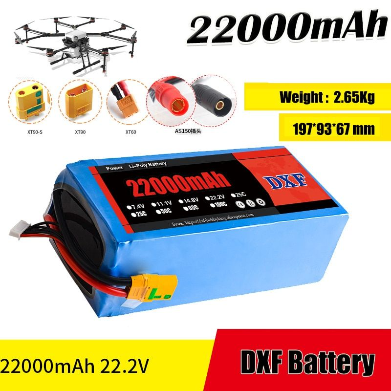 2017 DXF Good Quality Lipo Battery 22000mah 22.2V 25C MAX 60c For Drone FPV Helicopter RC Model Li-polymer Battery