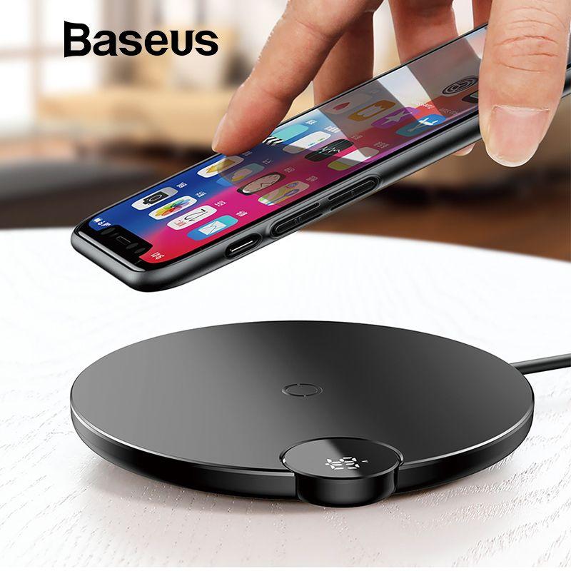 Baseus LCD Affichage Numérique Sans Fil Chargeur pour iPhone XS Max XR X 8 Qi Sans Fil De Charge Pad pour Samsung Galaxy s8 S9 + Note 9
