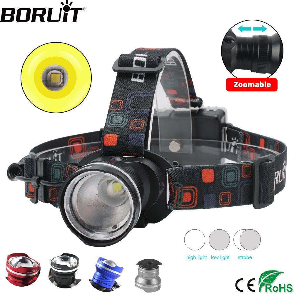 BORUiT RJ-2166 4000LM T6 phare LED 3 modes Zoom phare étanche tête torche Camping chasse lampe de poche par pile AA