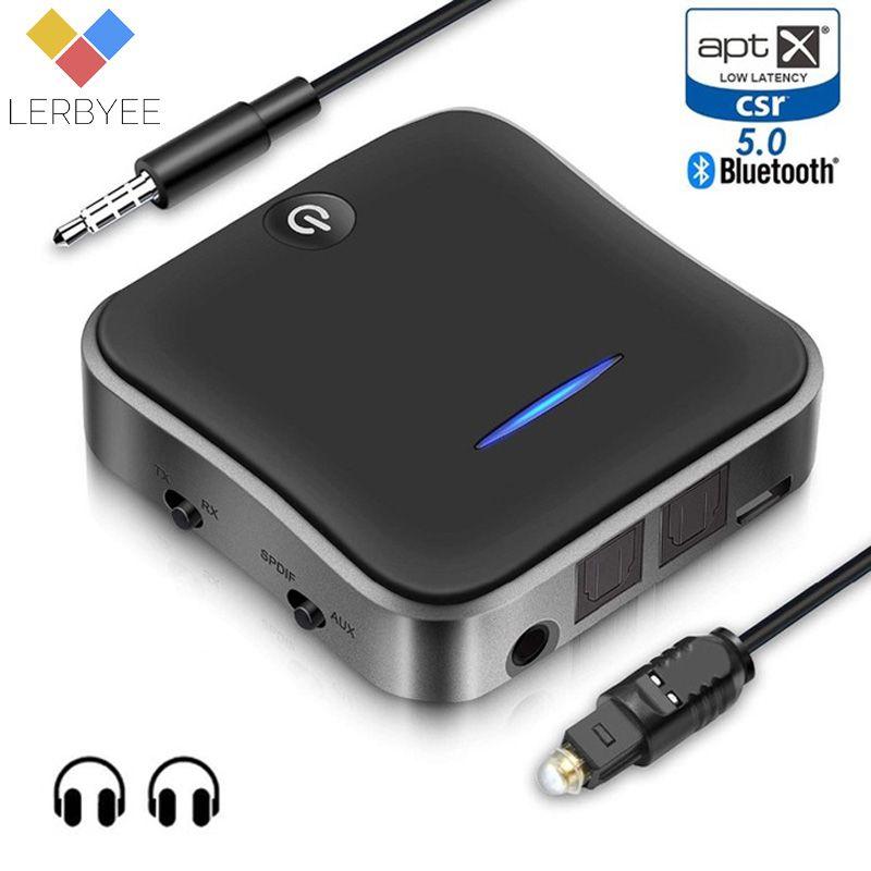 Lerbyee Bluetooth 5.0 Transmitter Receiver Wireless Audio Adapter aptX HD Low Latency Audio 3.5mm Aux for TV Headphone