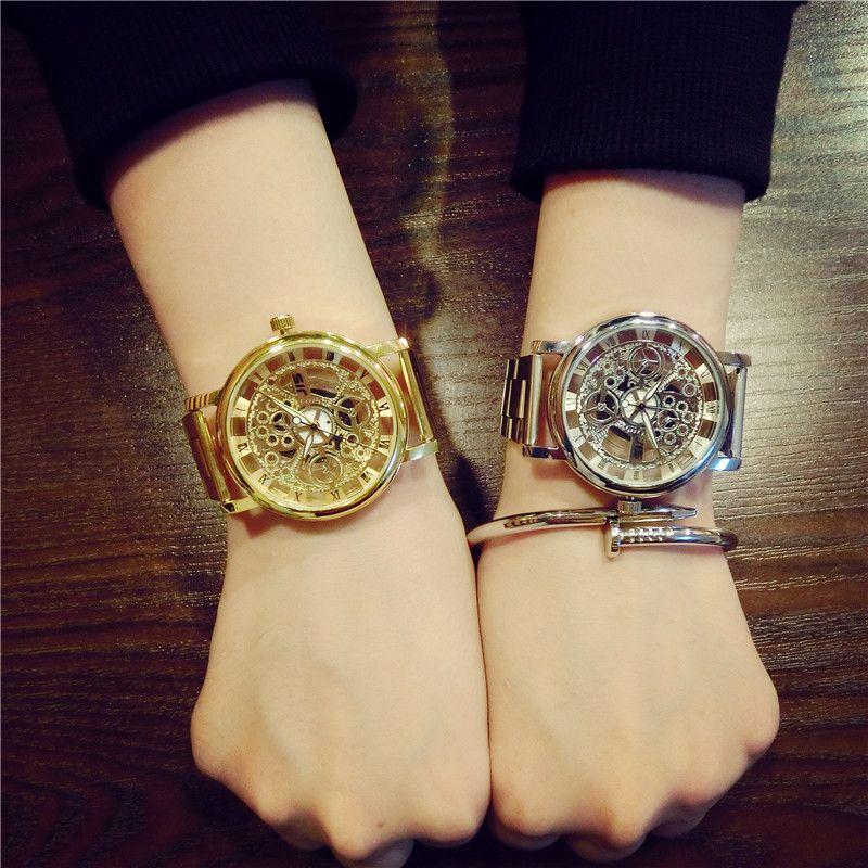 New Brand Luxury Fashion Casual Stainless Steel Men Skeleton Watch Women Dress Wristwatch Steel Quartz <font><b>Hollow</b></font> Watches Men