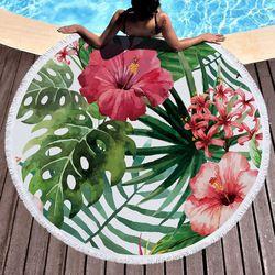 Imprimé Tropical Feuilles Fleur Flamingo Serviette De Plage Ronde Microfibre Serviettes De Plage Roundie Pour Adultes Serviette De Plage