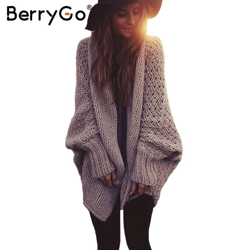BerryGo manches chauve-souris tricoté cardigan chandails femmes De Mode surdimensionné haussement d'épaules chandail Automne hiver chaud long pull cavaliers