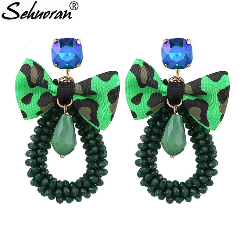 Sehuoran Crystal Beads Big Drop Earrings For Woman With Crystal Stone Oorbellen Long Earring For Weddings Earrings Brand Jewelry