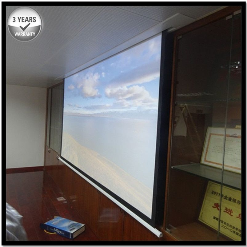 E6VWA 4:3 Matte White Reccessed In-Ceiling Motorized Retractable Projector Screen with multiple controls for smart home