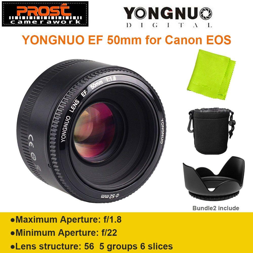 YONGNUO YN50mm f1.8 YN EF <font><b>50mm</b></font> f/1.8 AF Lens YN50 Aperture Auto Focus for Canon EOS DSLR Cameras + Hood + Bag + Lens Cloth
