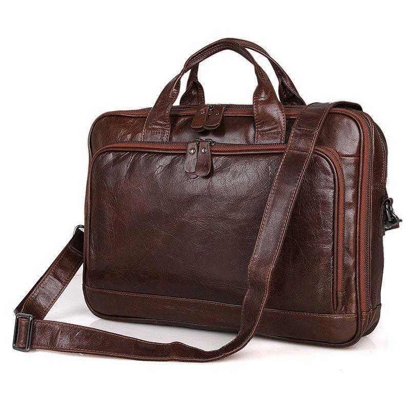 Nesitu High Quality Vintage Coffee Genuine Leather Men Messenger Bags 14'' Laptop Briefcase Real Skin Office Portfolio #M7005