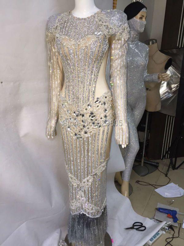 Luxus Feiern Langes Kleid Abend Silber Kleider Glisten Kostüm Sängerin Nachtclub Geburtstag Kristalle Helle Outfit
