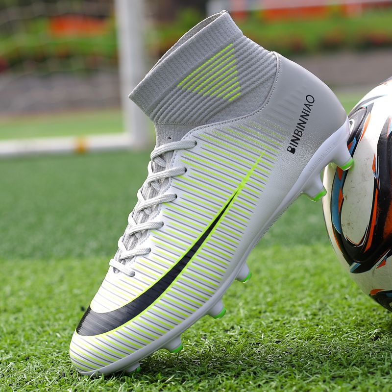 Hot Sale Mens Big Size Soccer Cleats High Ankle Football Shoes Long Spikes Outdoor Soccer Traing Boots for Men High Ankle F1818
