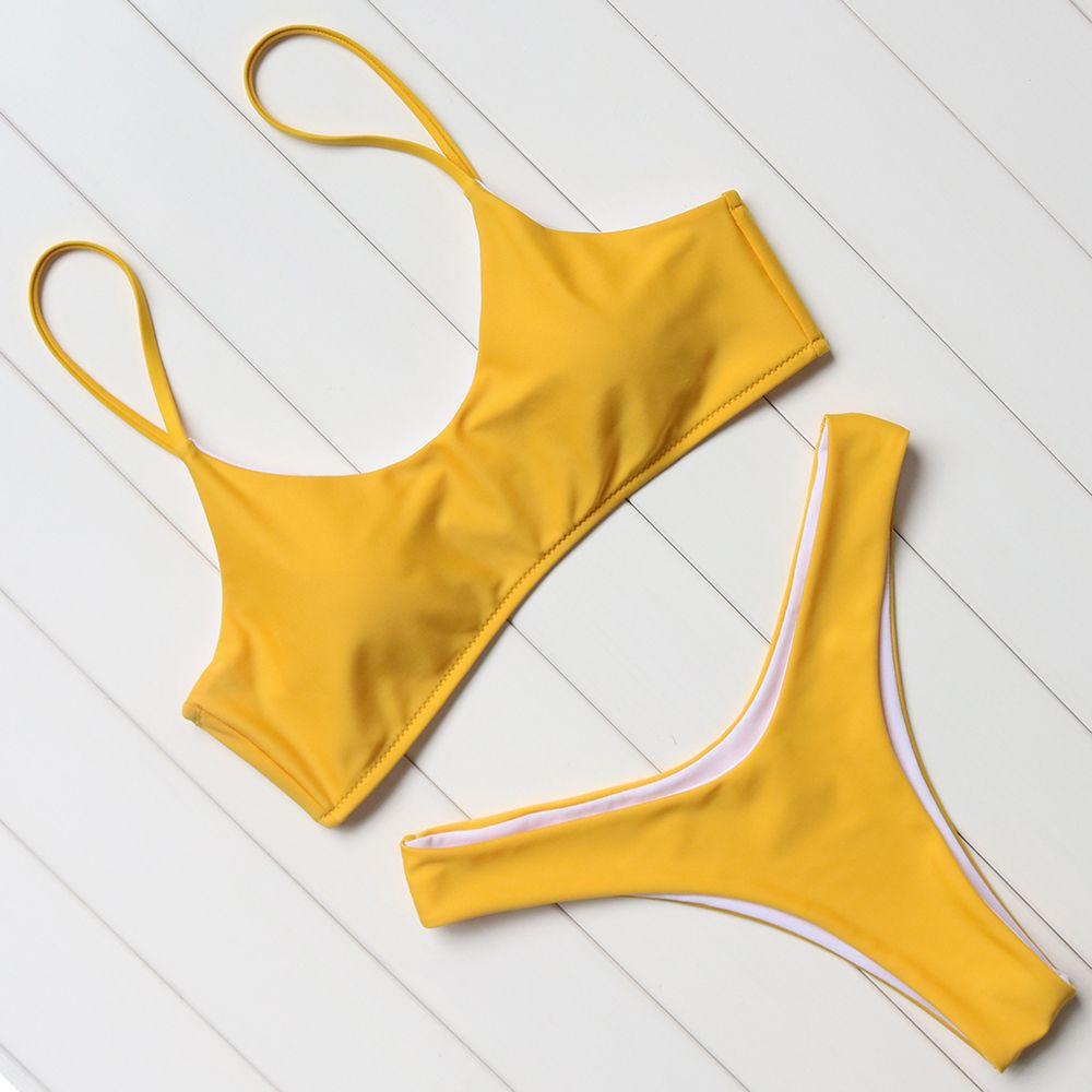 OMKAGI Bikinis brésiliens solides Push Up Bikinis rembourrés femmes taille basse Bikini ensemble maillots de bain femmes maillot de bain body maillots de bain