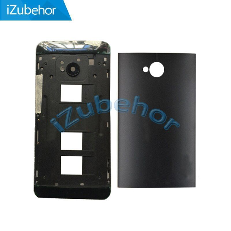 100% warranty Black and Silver Back Battery Cover Case Door Housing + Middle Frame For HTC ONE M7 Dual Sim 802t 802D 802W