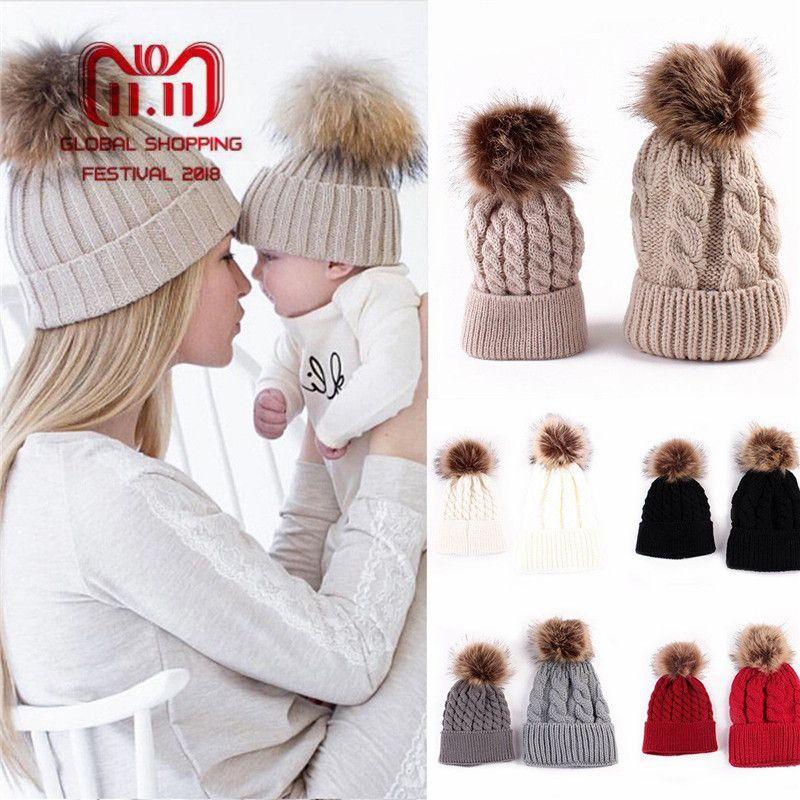 2PCS set Family Hat Infant Winter Knit Crochet Caps Faux Fur Beanie Hat Mother Daughter Son Baby Boy Girl skullies ski Cap