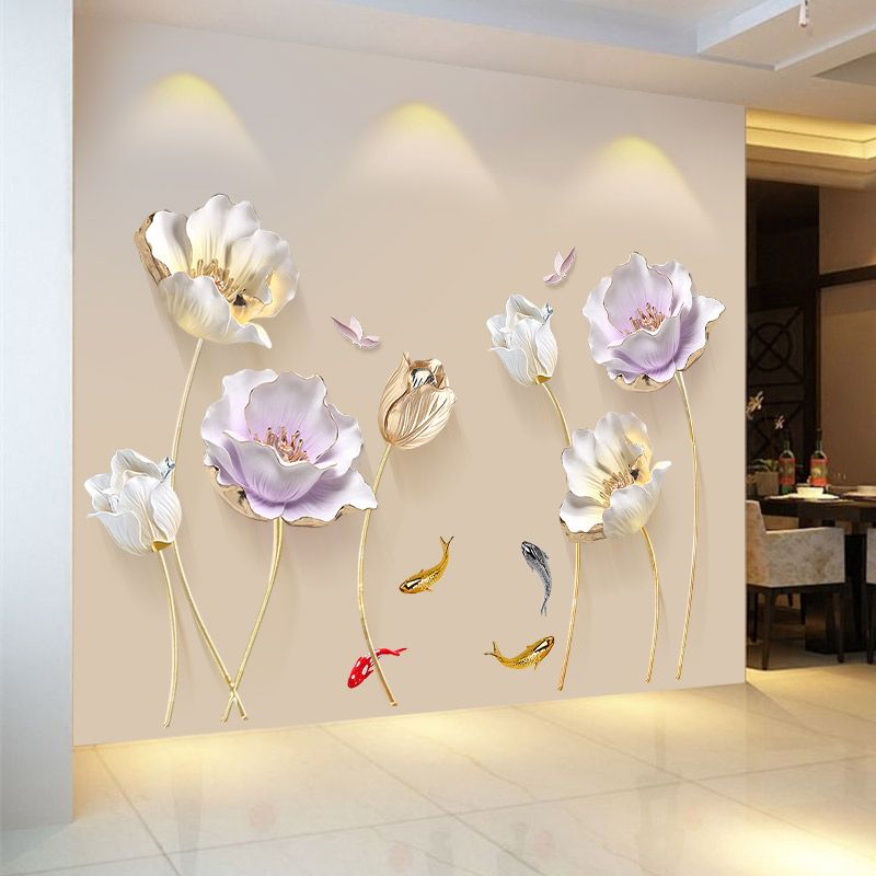 Chinese Style Flower 3D Wallpaper Wall Stickers Living Room Bedroom Bathroom Home Decor Decoration Poster