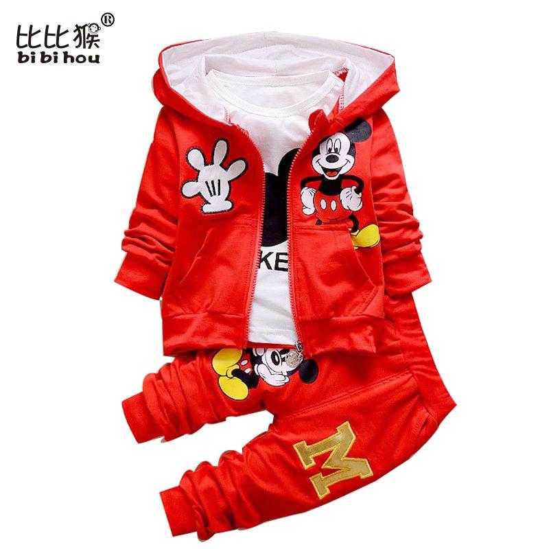 Autumn Boys Minnie Cartoon Girls Toddler Clothes Suits Children Kids T Shirts Pants Hoodies Jacket 3PCS Sport Sets Baby Clothes