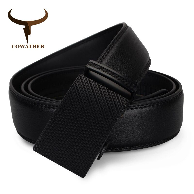 COWATHER Newest fashion mens belt top cow genuine <font><b>leather</b></font> automatic buckle belts for men causal ceinture homme free shipping