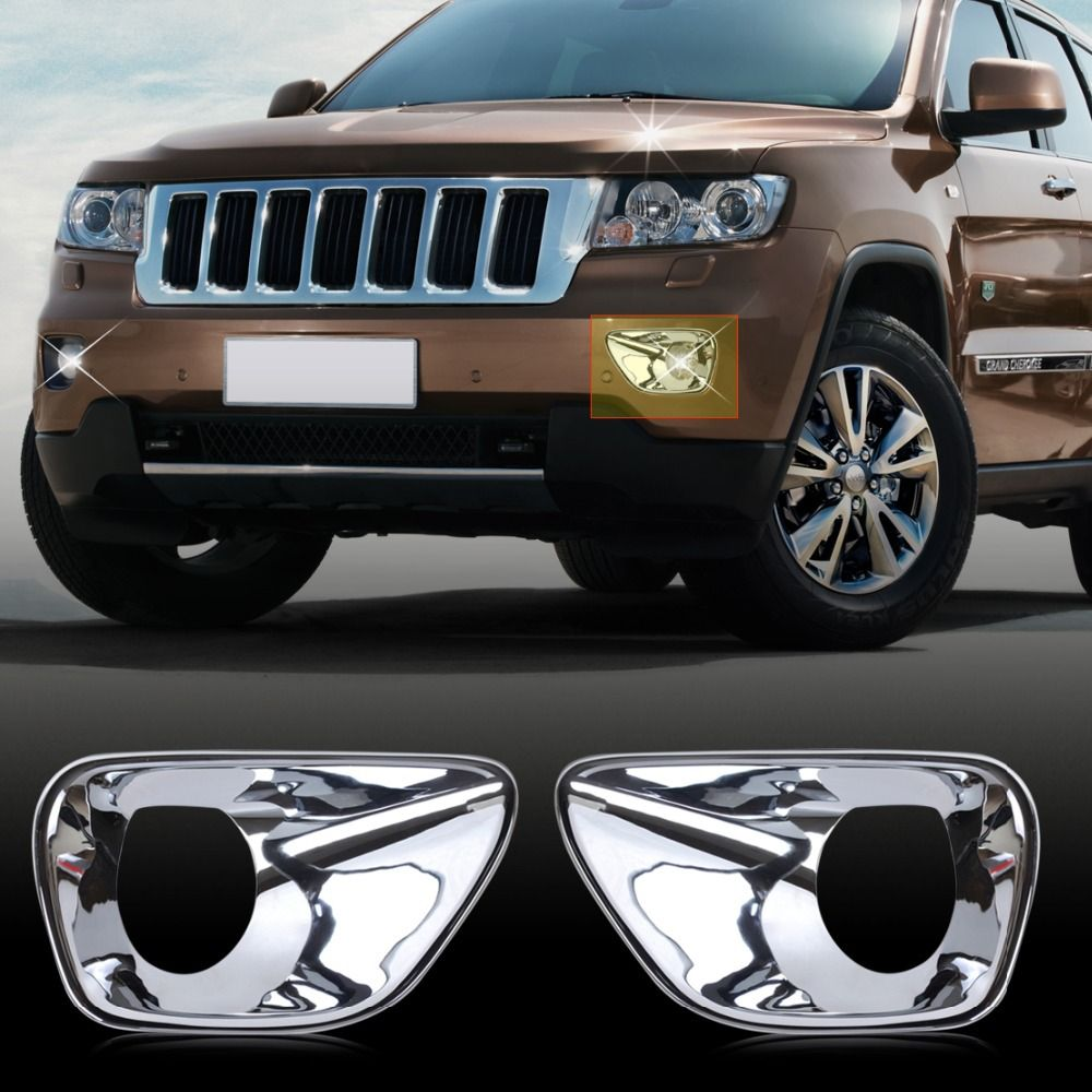 CITALL 2pcs New Car styling ABS Triple Chrome Front Fog Lamp Light Cover Trim For Jeep Grand Cherokee 2011 2012 2013