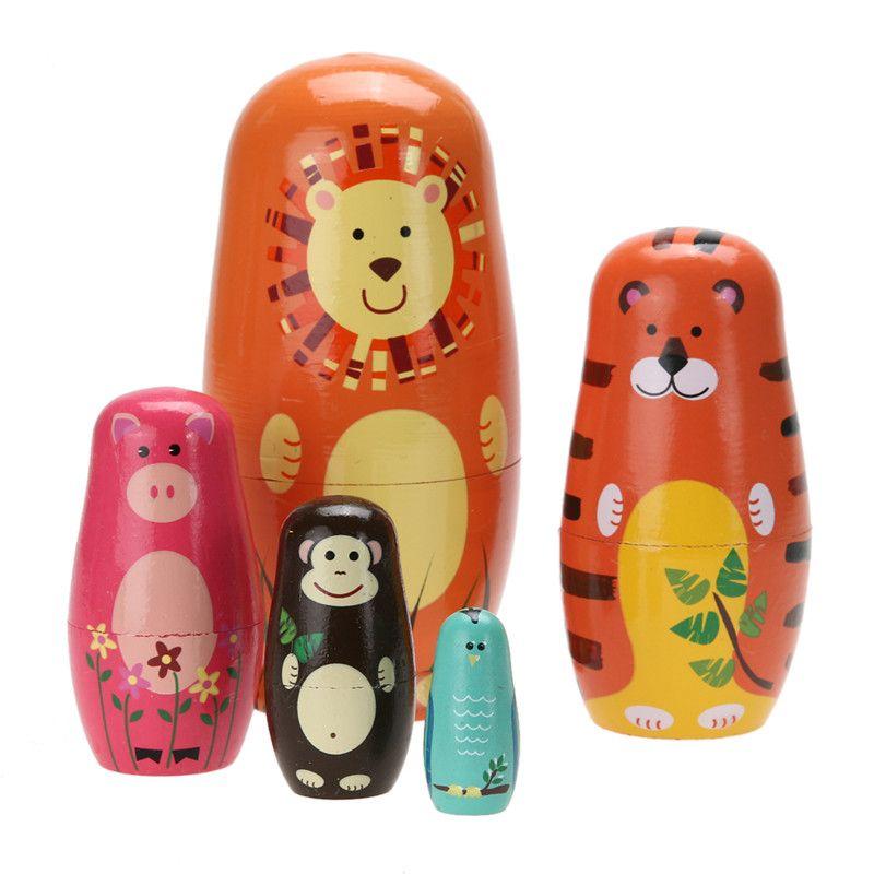 5pcs/set Cute Wooden Animal Paint Nesting Dolls Babushka Russian Doll Matryoshka Gift Hand Paint Toys Home Decoration Gifts