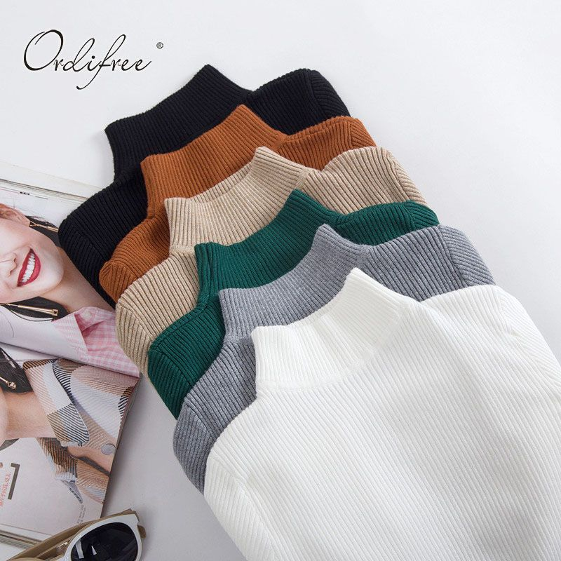 Ordifree 2018 Autumn Winter <font><b>Pull</b></font> Femme Cashmere Knitted Sweater Slim Jumper Turtleneck Warm Soft Women Sweaters and Pullovers