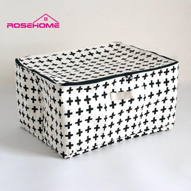 ROSEHOME bref lin coton boîte de rangement étanche avec fermeture éclair sac cosmétique décor à la maison ménage orgnidisation sac de voyage