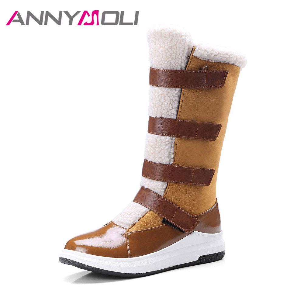 ANNYMOLI Mujeres Nieve Botas de Mitad de la pantorrilla Botas de Invierno Cálido Botas de Cuñas de Plataforma Zapatos Bajos Del Talón de Gran Tamaño 42 43 Zapatos de piel Marrón Negro