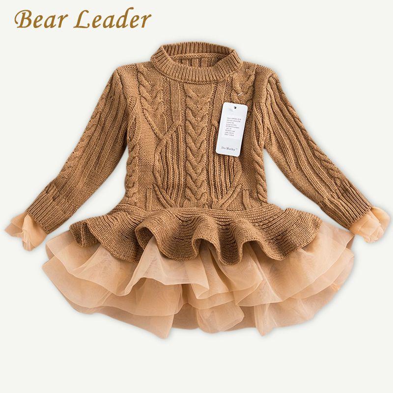 Bear Leader Girls Dress 2017 Winter Pullover Knitted Sweaters Ball Gown Dress Long Sleeve Outerwears O-neck Kids Knitwear 3-7Y