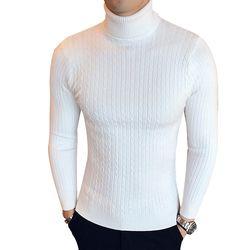 Tinggi Musim Dingin Leher Hangat Tebal Sweater Pria Turtleneck Merek Pria Sweater Slim Fit Pria Pullover Rajut Pria Double Kerah