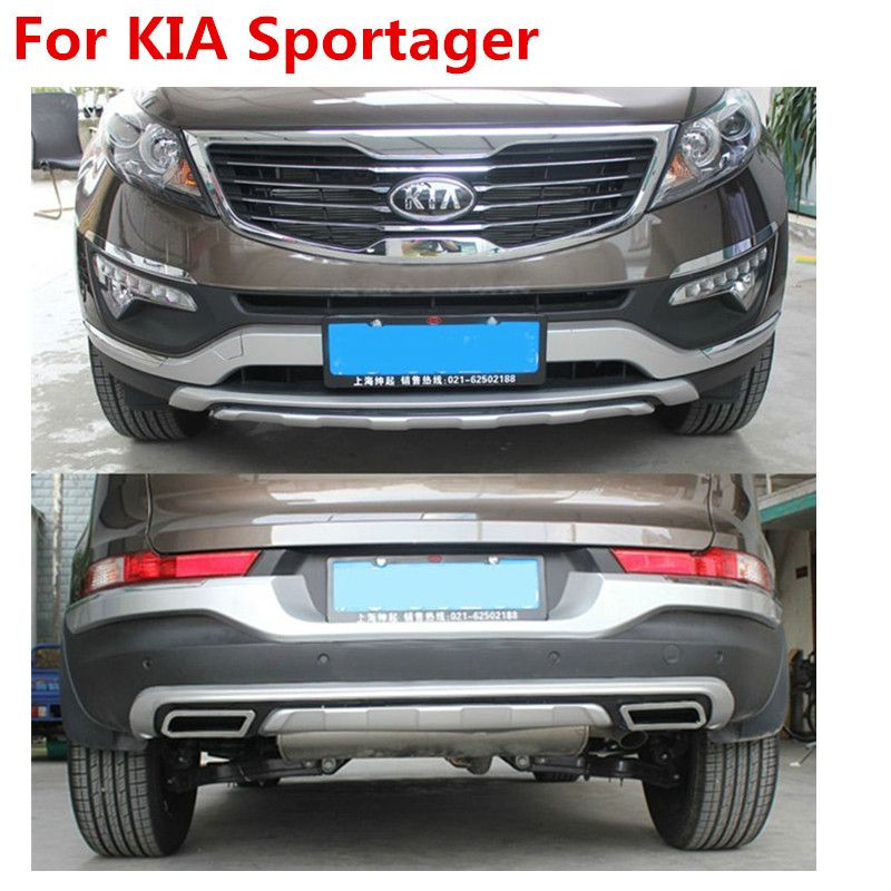 Good quality plastic ABS Chrome Front+Rear bumper cover trim For 2011-2015 Sportager ,car styling
