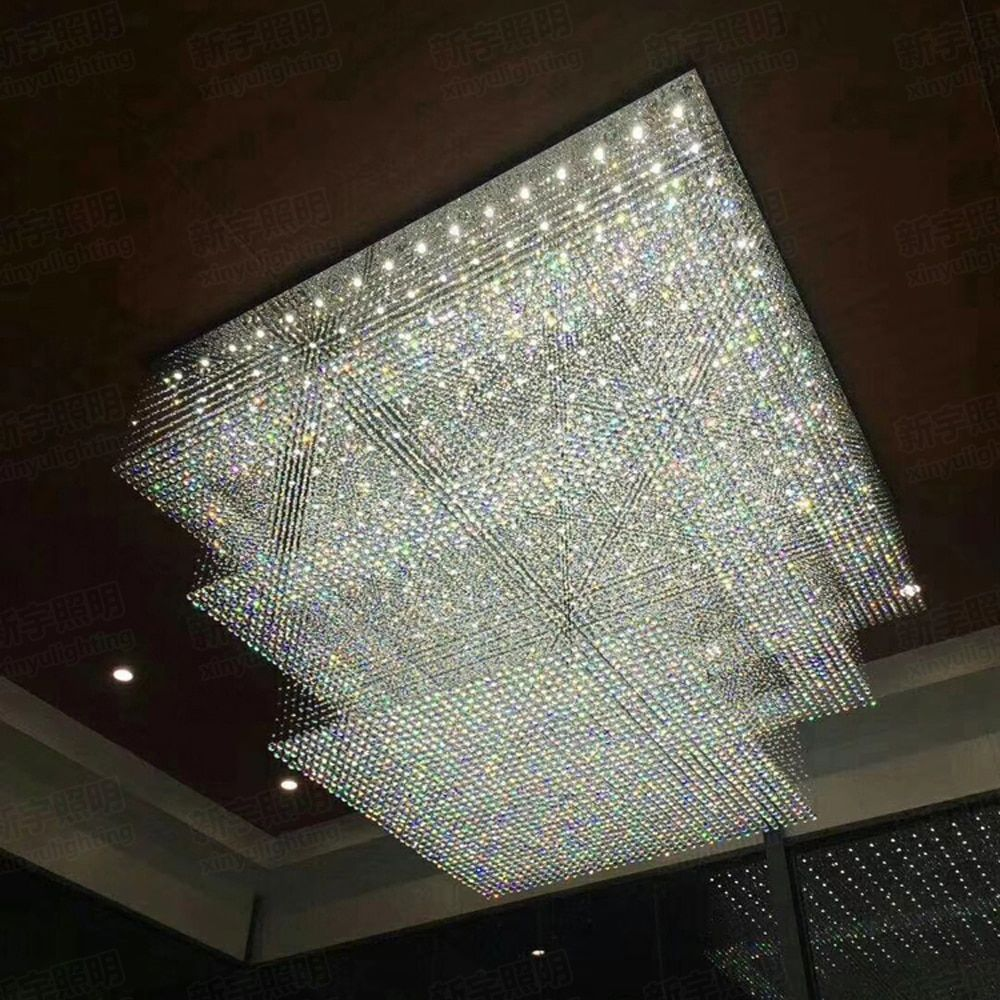modern design large crystal chandelier hotel lighting AC110V 220V lustre cristal kronleuchter LED foyer lights