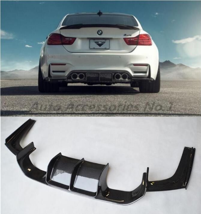 JIOYNG Carbon fiber Rear Bumper Lip Spoiler Diffuser Cover For F80 M3 F82 M4 2014 2015 2016 2017 2018 by EMS (Vorsteiner STYLE)
