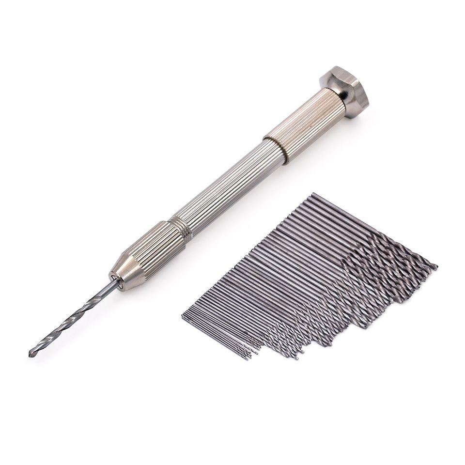 Mini Micro Aluminum Hand Drill With Keyless Chuck +50pcs High Speed Steel Twist Drill Bit Sets For Rotary Tools Wood Drilling