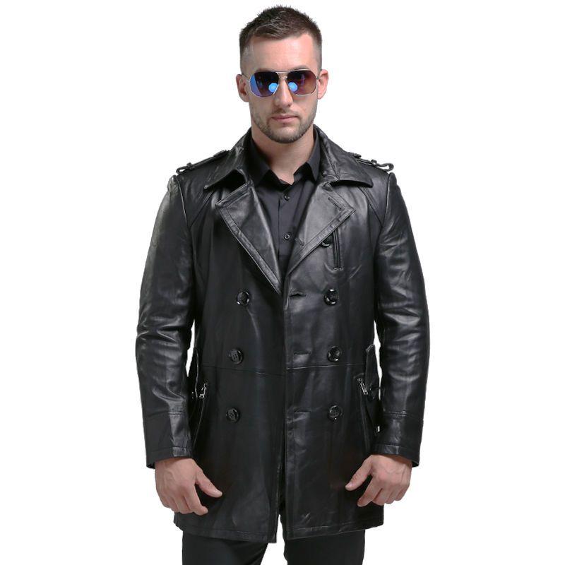 AIBIANOCEL Lange Stil männer Echte Lederjacke Männer Echtes Leder Jacke Schaffell Aus Echtem Leder Mantel Männer 1620