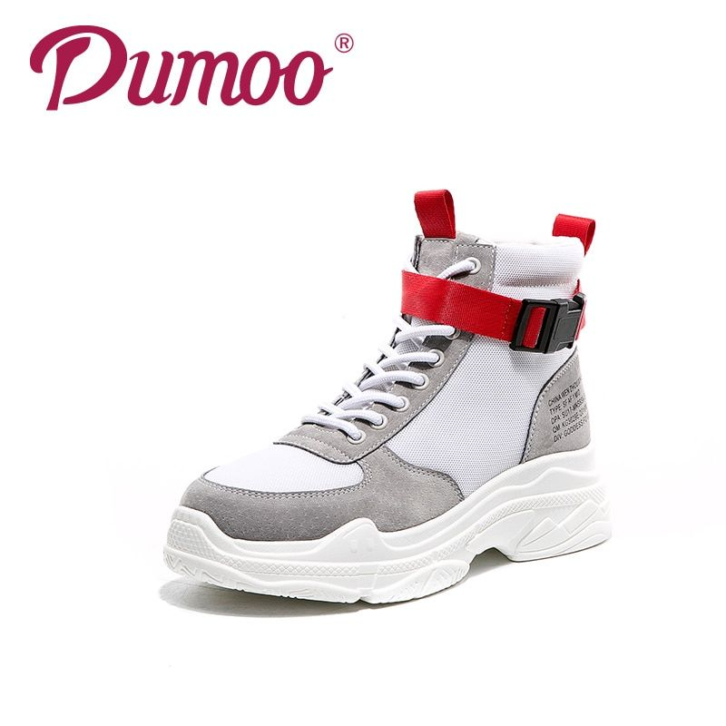 Dumoo 2018 New Shoes Sneakers Women Cow Leather Lady Casual Shoes Ribbon Leisure Shoes Platform Wedges Heel 5.5cm Girl Shoes